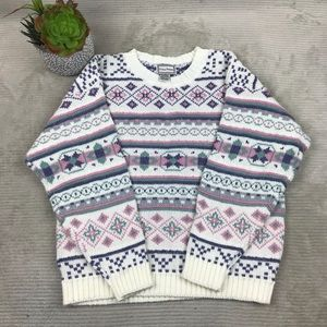 Vintage Gina Peters Multi Pattern Sweater
